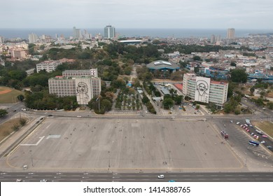 Havana, Cuba - April 13, 2017: Revolution square of Havana with featuring an iron mural of Camilo Cienfuegos' face in the Ministry of Communications and Che Guevara's face on Ministry of Interior