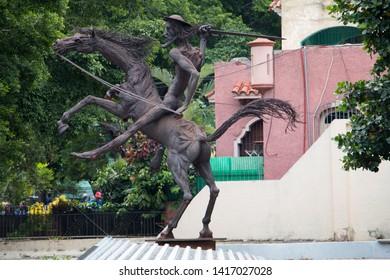Havana, Cuba - April 13, 2017: Statue of Don Quixote in the center of Havana.