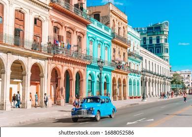HAVANA, CUBA - APRIL 14, 2017: The most popular street and famous taxi in old Havana at Cuba