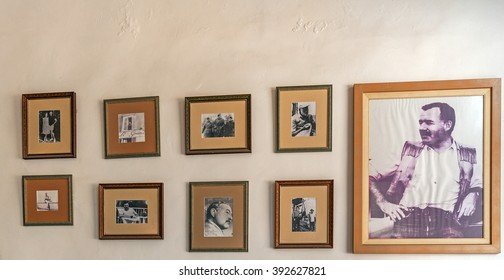HAVANA, CUBA - APRIL 2, 2012: Exhibition of writer Ernest Hemingway inside Hotel Ambos Mundos, where he lived  from 1932 till 1935 l