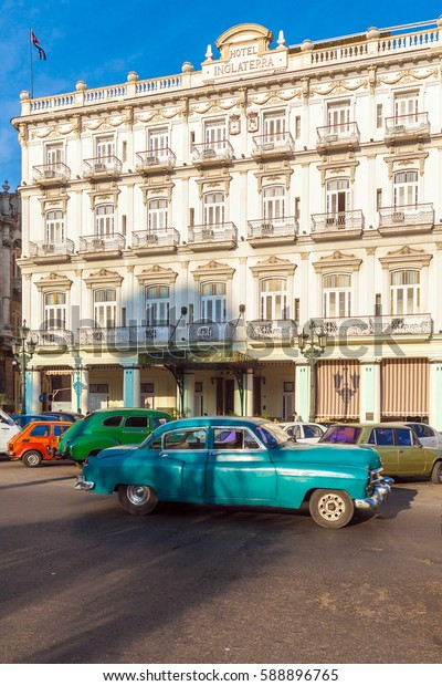 HAVANA, CUBA - APRIL 2, 2012: Retro car on streets of the old town near Hotel Inglaterra