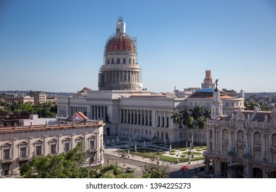 Havana, Havana / Cuba - April 21st 2019: El Capitolio building under renovation.