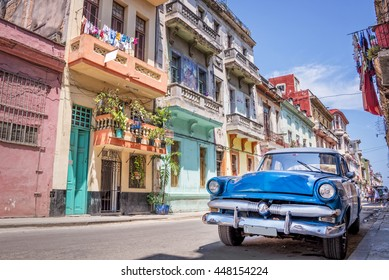HAVANA, CUBA - APRIL 23: Vintage classic american car, on April 23, 2016  in Havana, Cuba