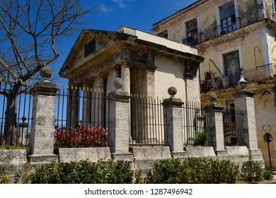 Havana, Cuba - April 5, 2014: Side view of El Templete neoclassical monument to the founding of Havana Cuba