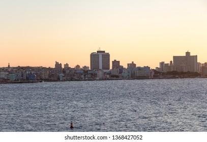 Havana, Cuba - April 5, 2016: Panorama view of Habana, Hotel Havana Libre and Hotel Nacional de Cuba. Golden hour.