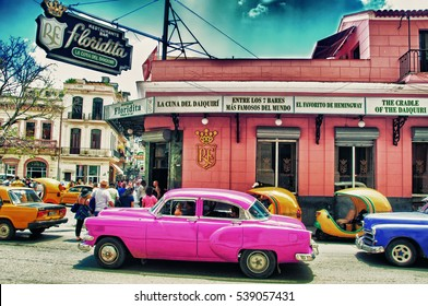 HAVANA, CUBA- AUG 9, 2016: facade of floridita restaurant in hav