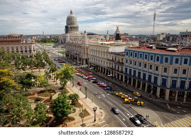 Havana, Cuba - August 1, 2018: Aerial view of Capitol and parque central in Havana