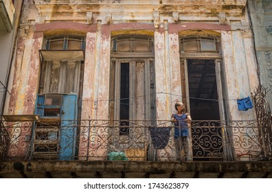 Havana Cuba, August 11, 2019. Neighbors from the Old Havana neighborhood who live in buildings that are in ruins and hardly have opportunities for a decent life in a country where a communist dictator