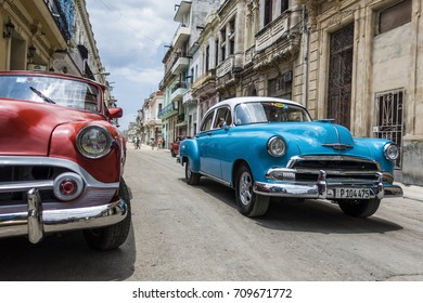 HAVANA, CUBA - AUGUST 16: Vintage classic American cars on August 16, 2017 in Havana, Cuba.  Cuba is rapidly becoming one of the world's most popular visitor destinations.