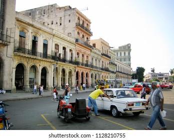 Havana, Cuba - August 17, 2007. Paseo del Prado street in front of the National Capitol Building in central Havana.