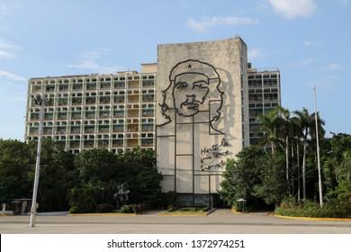 Havana, Cuba - August 2, 2017:  Plaza de la Revoluci—n building.