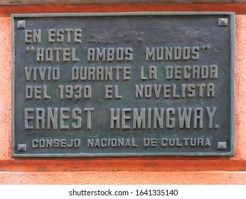Havana / Cuba - August 2007: The Ambos Mundos hotel where Ernest Hemingway stayed during his time in Havana, Cuba