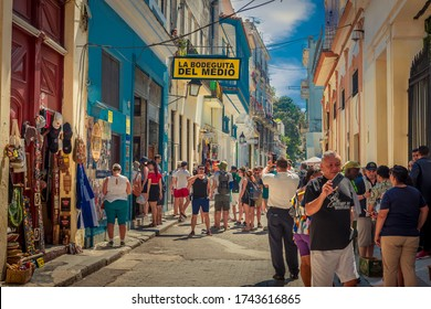 Havana Cuba, August 2019. The very famous Bodeguita del Medio, a place of great cultural and historical renown, frequented by many tourists who want to try the best mojito in the Caribbean country.