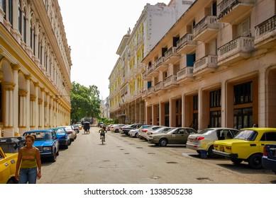 Havana, Cuba - August 31, 2012. Old streets of Havana near Capitol. Old Havana downtown Street. Colorful buildings in Havana.