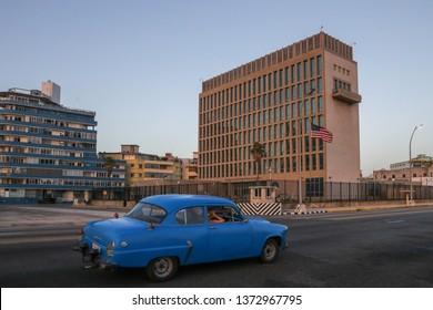 Havana, Cuba - August 4, 2017:  United States Embassy in Havana, Cuba.