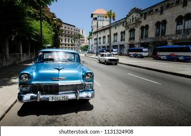 Havana Cuba, August 6th 2016. Beautiful Vintage car in Havana Cuba