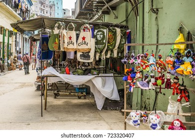HAVANA, CUBA, CIRCA APRIL 2017: Souvenirs market stand in Havana, Cuba. With its shabby atmosphere, Havana is the destination of more than 1 million tourists every year
