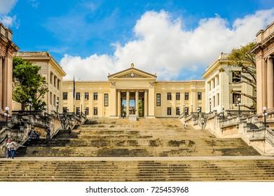 HAVANA, CUBA, CIRCA APRIL 2017: Front view of University of Havana, Cuba, located in the Vedado district of Havana.