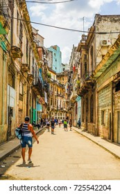 HAVANA, CUBA, CIRCA APRIL 2017: Typical street of Havana, Cuba. With its shabby atmosphere, Havana is the destination of more than 1 million tourists every year