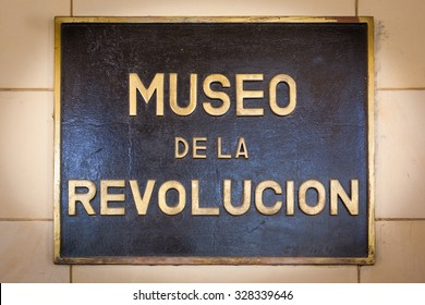 HAVANA, CUBA - CIRCA AUGUST, 2015: Sign outside the Museum of the Revolution (Museo de la Revolucion) in Havana, Cuba