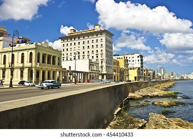 HAVANA, CUBA - CIRCA JULY 2016: Morning at Malecon shoreline in Havana, Cuba