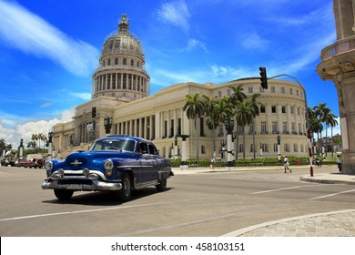 HAVANA, CUBA - CIRCA JULY 2016: Morning at Capitolio (Capital) in Havana, Cuba