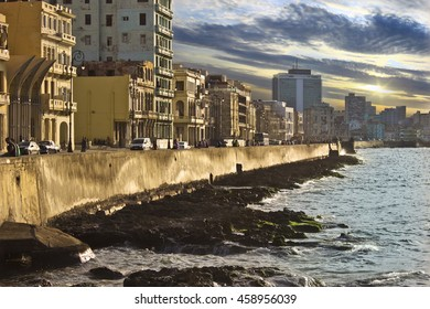 HAVANA, CUBA - CIRCA JULY 2016: Sunset along the Malecon Shoreline in Havana, Cuba