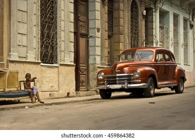 HAVANA, CUBA - CIRCA JULY 2016: Afternoon along a historic street in Havana, Cuba