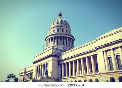 Havana, Cuba - city architecture. Famous National Capitol (Capitolio Nacional) building. Cross processed color tone - retro style filtered image.