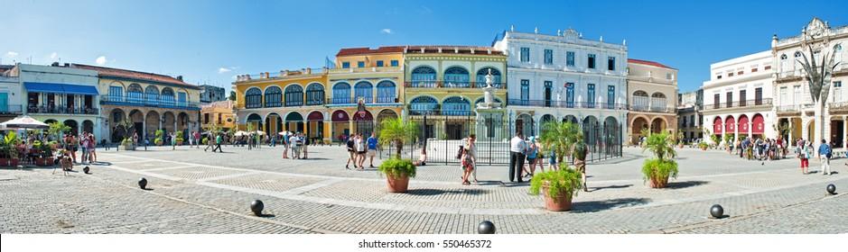 HAVANA, CUBA- DEC 27, 2016: panoramic view of a plaza in old havana