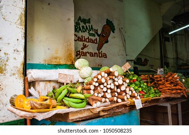 Havana, Cuba - December 11, 2016: Fruit and vegetable market in the old town of Havana, Vieja (Cuba)