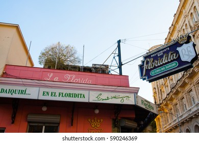 Havana, Cuba - December 11, 2016: The historic cocktailbar El Floridita in Havana. The Bar is famous for its daiquiris and for having been one of the favourite hangouts of Ernest Hemingway in Havana.