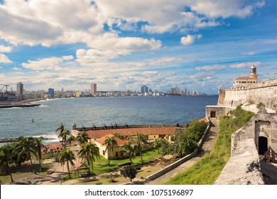 Havana, Cuba - December 11, 2017: Panorama of Havana with lighthouse