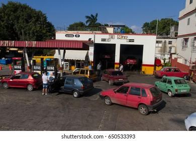 HAVANA, CUBA - DECEMBER 16, 2016: Gasoline station in Havana Cuba.