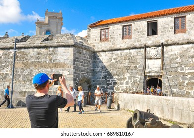 Havana, Cuba - December 19, 2016: Tourists visit Castillo de la Real Fuerza, major landmark in Havana, Cuba