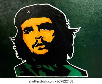 Havana, Cuba - December 19, 2016: Stickers with Che Guevara decorate the old walls of buildings in Havana, Cuba