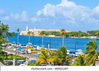 Havana, Cuba - December 19, 2016: Malecon Avenue as seen from the castle in Havana, Cuba