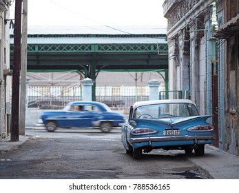 Havana, Cuba - December 25, 2017: A vintage 1959 Chevrolet is parked on the side of a small street in downtown Havana, Cuba. Such old cars have become symbolic of the Caribbean island nation.