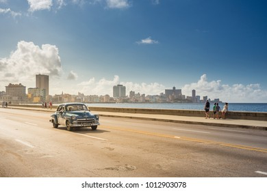 Havana, Cuba - December 29, 2017: Classic car on the Malecon in Havana, Cuba