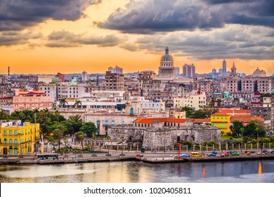Havana, Cuba downtown skyline at dusk.