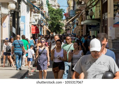 Havana, Cuba - Feb 14, 2018: Unidentified people at Down Town and that neighborhood in Old Havana as they enjoying a simple everyday life.