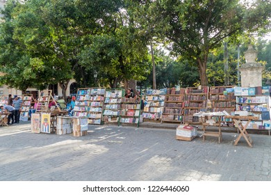 HAVANA, CUBA - FEB 20, 2016: Souvenir stalls at Plaza de Armas square in Havana.