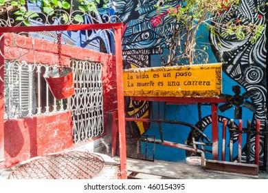 HAVANA, CUBA - FEB 20, 2016: Various street art in Callejon de Hamel in Havana Centro neighborhood.