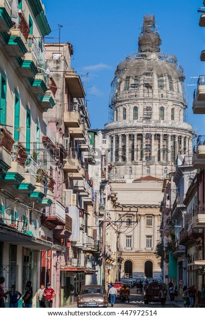 HAVANA, CUBA - FEB 21, 2016: Barcelona street leading to the National Capitol.