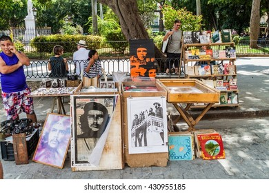 HAVANA, CUBA - FEB 22, 2016: Souvenir stalls at Plaza de Armas square in Havana.
