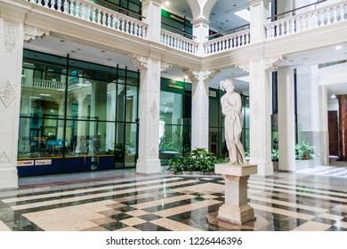 HAVANA, CUBA - FEB 23, 2016: Interior of Lonja de Comercio building in Havana.