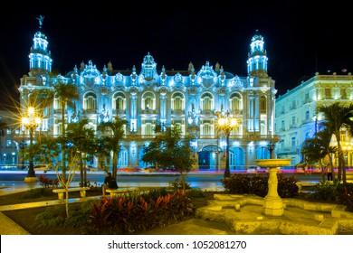 HAVANA, CUBA - FEBRUARY 13, 2018 - Night view of Hotel Inglaterra and Gran Teatro de La Habana on Paseo de Marti (Paseo del Prado) street