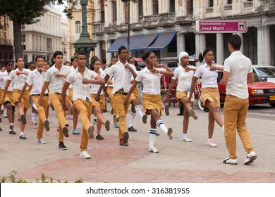 HAVANA, CUBA, FEBRUARY 15, 2013 : Demonstration . Students march on the square