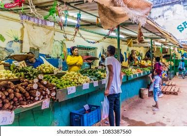 Havana, Cuba. February 2018. A typical market scene, at the market of San Rafael in Havana, Cuba.