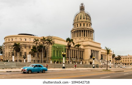 Havana, Cuba. February 2018. A view of the Capitolio National building, on Paseo de Marti,  in Havana, Cuba.